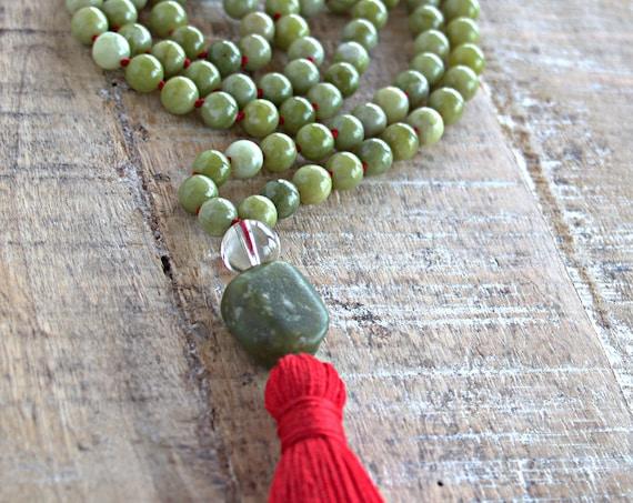 Chakra jewelry, chakra mala necklace, green jade mala, heart chakra, chakra cleansing