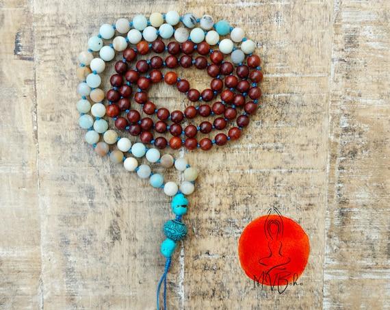 Amazonite necklace. Wooden Mala beads 108