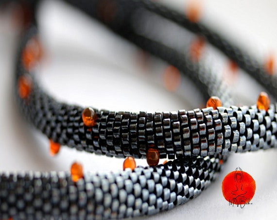 Beaded necklace, Rope necklace, Bead crochet necklace, Bead Crochet Rope, Miyuki beaded necklace, 2 strand Beadwork Necklace