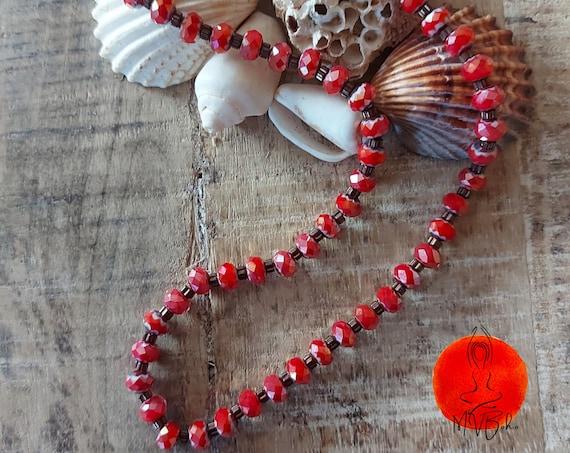 Red choker, Seed bead choker, Everyday necklace, Bohemian choker necklace, Tribal choker