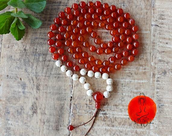 Carnelian Mala, 108 Beads Mala, Knotted Mala Beads, Mala Necklace with Carnelian Guru Bead, Howlite Mala, Gift for soul