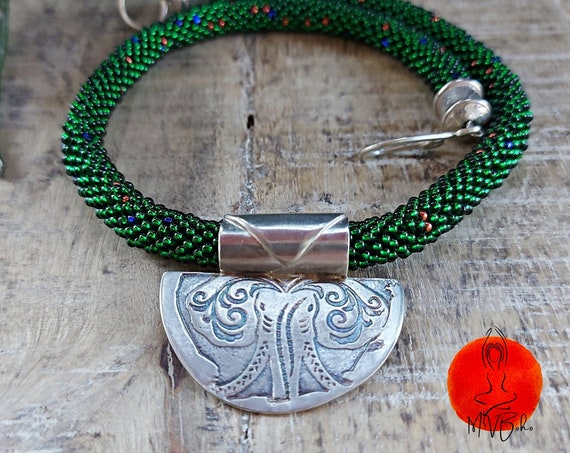 Beaded necklace. Elephant necklace from Miyuki beads, sterling silver