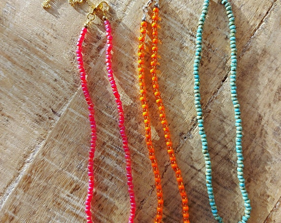 Beach necklace, Seed bead choker, Minimalist choker, Beaded choker, Tribal choker, Bead choker necklace, Summer choker