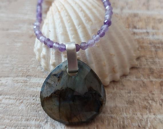 Pendant necklace, amethyst necklace, labradorite pendant necklace