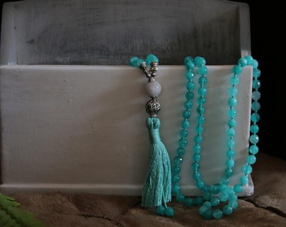 108 Mala beads, mala necklace, blue chalcedony, mala beads with jade Guru Bead, chalcedony necklace
