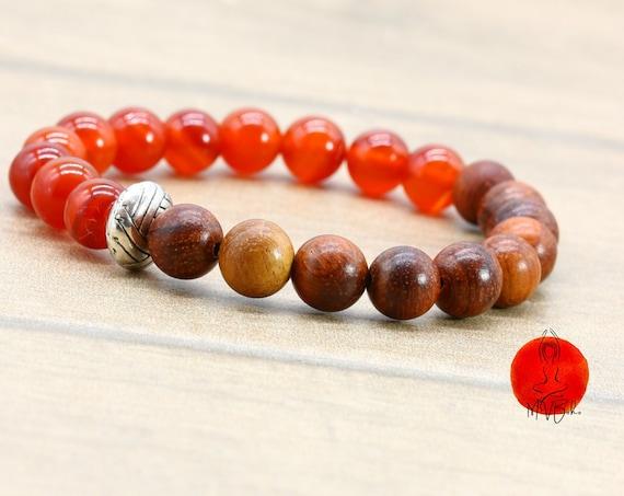 Carnelian Bracelet, Orange Carnelian, Beaded Gemstone Bracelet, Healing Jewelry, Gift for him