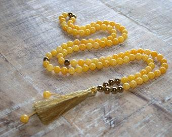The solar plexus chakra mala, Yellow jade mala beads, 108 mala beads necklace