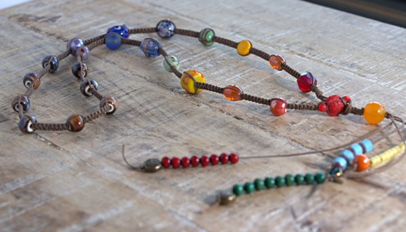 Chakra necklace, Macrame necklace, tribal necklace, ethnic necklace, bohemian necklace