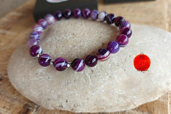 Purple Agates Mala Bracelet, Mala Bracelet 8 mm, Purple Wrap Bracelet, Beaded Bracelet, Yoga Jewelry, Mala Bracelet
