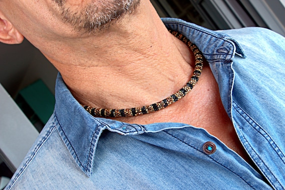 Mens beaded necklace, brown boho necklace, rope beaded necklace, gift for him
