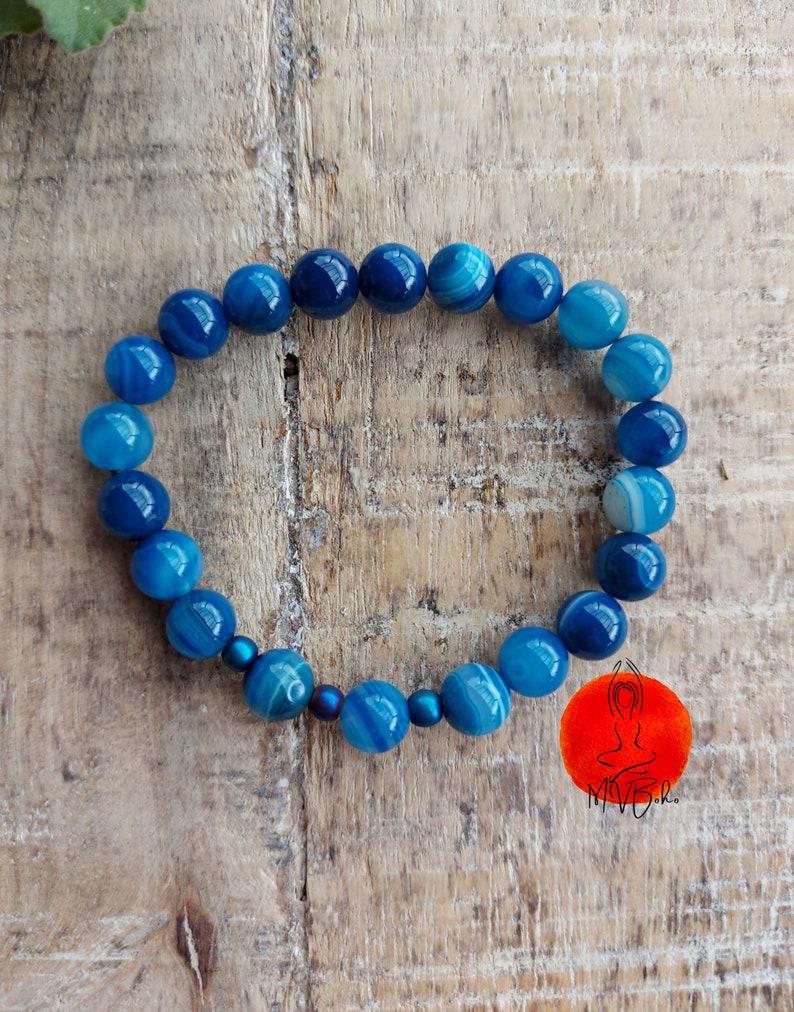 Agate Mala Bracelet Gemstone Bracelet Yoga Jewelry image 0