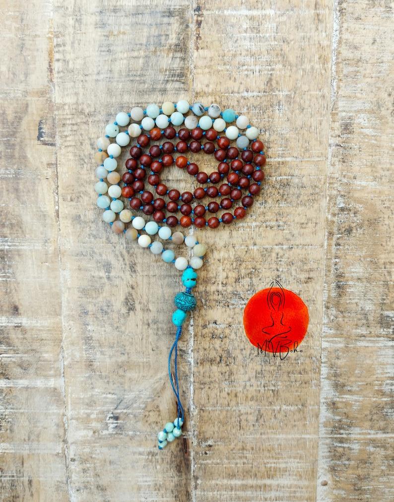 Amazonite necklace. Wooden Mala beads 108 image 0