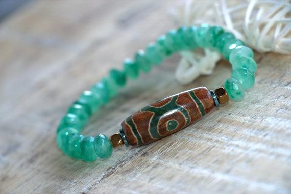Chakra bracelet, protective bracelet, Heart chakra, aventurine bracelet, DZI bead bracelet, Healing Yoga Stretch bracelet