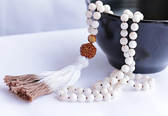 Angelite necklace, angelite mala, white angelite mala beads