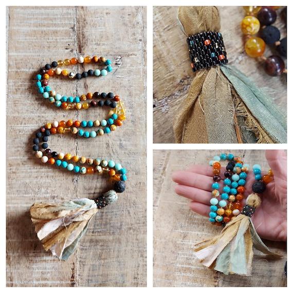 Mala beads necklace, 108 mala, silk tassel necklace, colorful mala, knotted mala