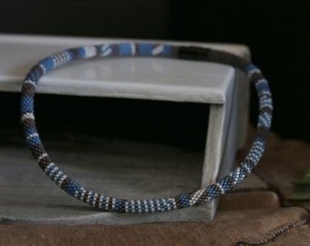 Mens beaded necklace, blue boho necklace, rope beaded necklace, gift for him