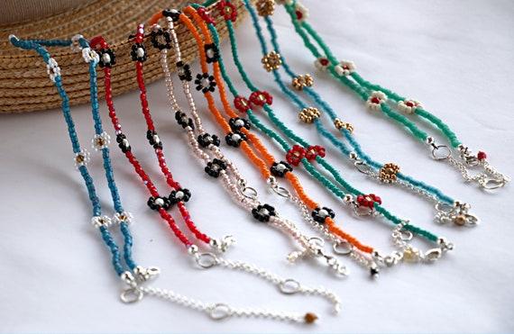 Daisy necklace, summer jewelry, flower choker