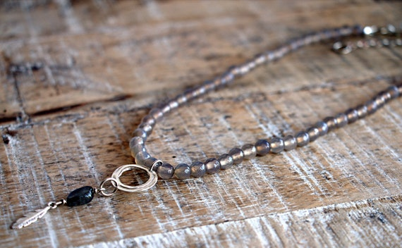 Labradorite necklace with silver pendant, Throat Chakra, Third Eye Chakra, Crown Chakra