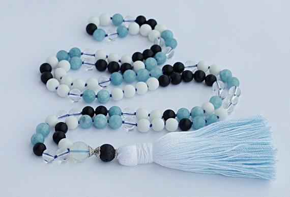 Aquamarine mala necklace, aquamarine mala, 108 Mala Beads, Protection Japamala, Blue aquamarine, The Throat chakra