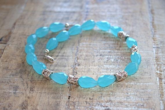 Blue quartz necklace, throat chakra necklace