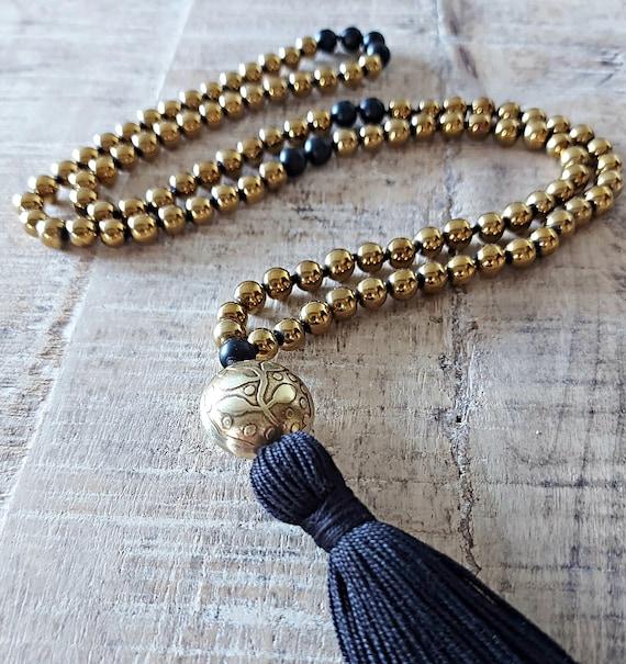 Gold Mala beads, Hematite Mala, Knotted Mala Beads, Mala Beads for Healing, 108 Beads Tassel Necklace, Japamala, Yoga Mala, Gift for Soul
