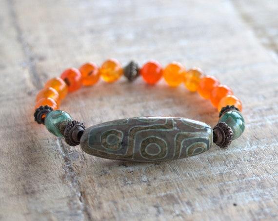 Chakra bracelet, Sacral chakra, Healing Yoga Stretch bracelet, carnelian bracelet