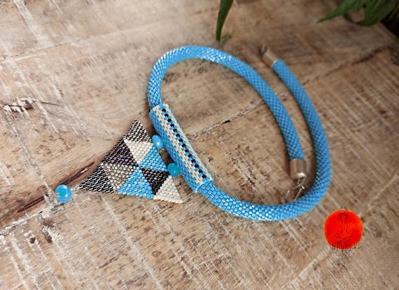 Beaded choker, Blue necklace, Beaded lanyard, Beaded jewelry, Boho necklace, Seed bead choker, Bead rope necklace, Rope choker