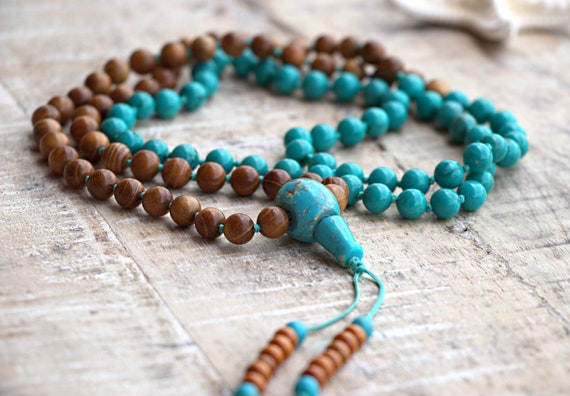 Turquoise wooden 8mm 108 beads mala