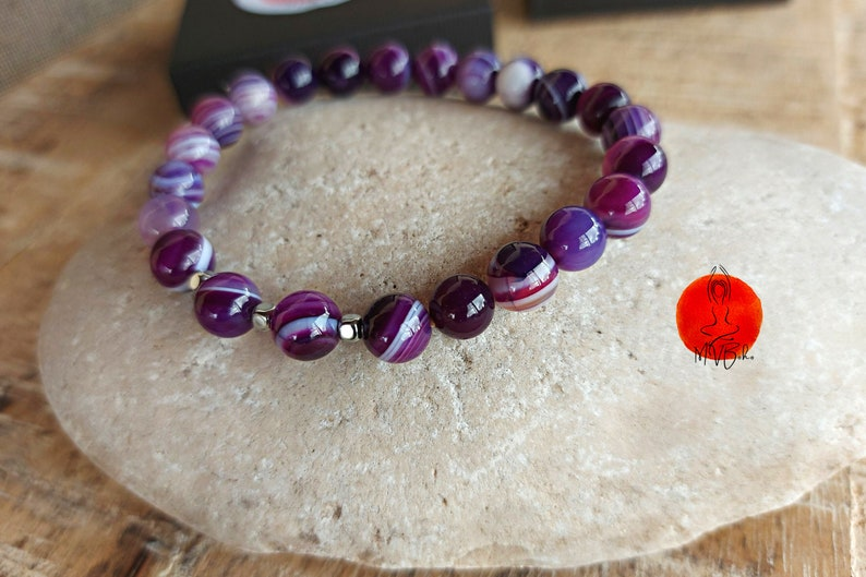 Purple Agates Mala Bracelet Mala Bracelet 8 mm Purple Wrap image 0