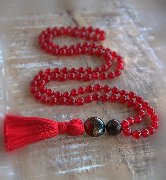 Root chakra, meditation mala, Muladhara chakra mala beads, red first chakra mala beads
