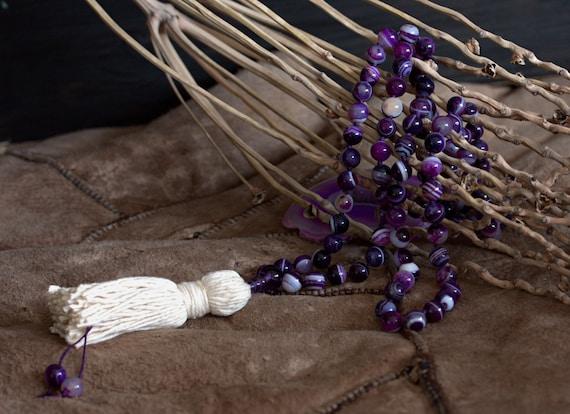 Crown Chakra mala beads, 108 mala beads, Knotted mala 108, Mala, Purple Agates Mala, Mantra beads, Yoga necklace, Tassel necklace