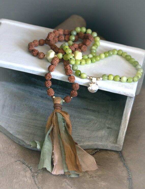 108 Mala Beads, Heart Chakra mala beads, Anahata chakra, knotted mala necklace, chakra mala necklace, tribal necklace