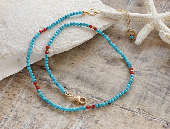 Turquoise necklace, turquoise bead necklace, turquoise choker