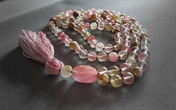 Tourmaline Mala, Knotted Mala Beads, 108 Beads Japamala, Mala Necklace with Tassel, Hand-Knotted Mala, Tassel necklace