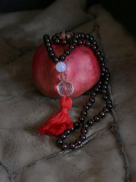 Garnet Mala, Garnet yoga necklace, Mediation Mala, Knotted Mala Beads, 108 Beads Tassel Necklace, Japa mala, Tassel necklace