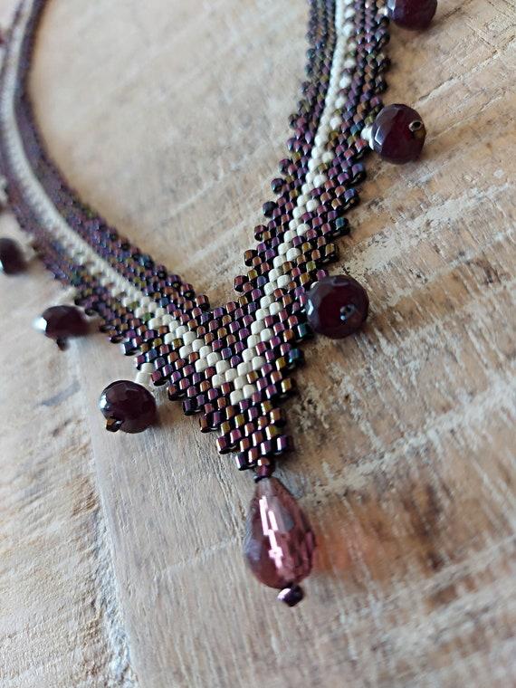 Beaded choker, purple necklace, seed bead crochet necklace