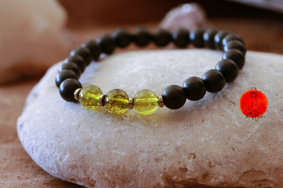 Peridot Bracelet, Mala Beads Bracelet, Onyx Mala Bracelet, Healing Bracelet, yoga bracelet, Mala bracelet, Gift for Him
