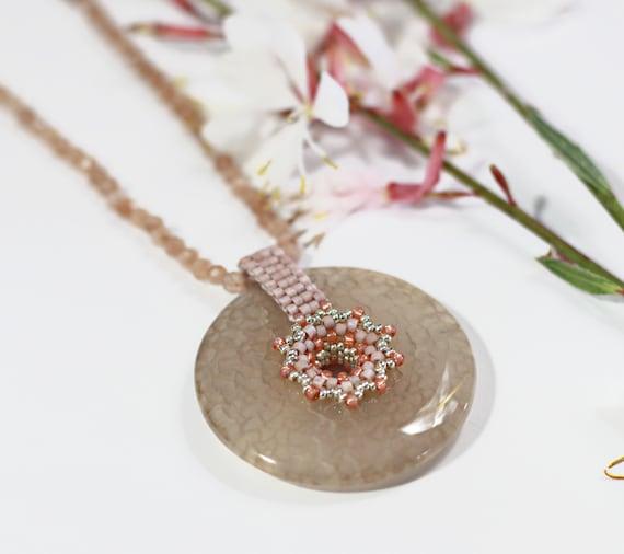 Donut pendant necklace, rose quartz pendant necklace