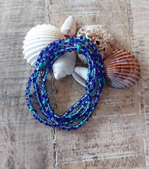 Bead choker necklace, Tribal choker, Wrap bracelet, Beaded bracelet, Charm bracelet, Blue bracelet