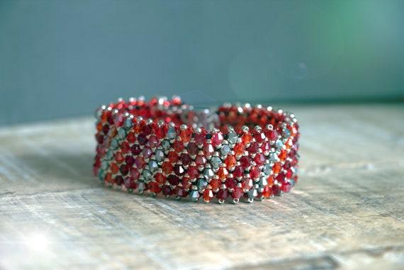 Swarovski bead weaving bracelet, shine bracelet
