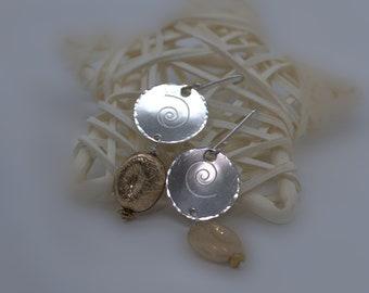 Silver spiral dangle drop earrings with gold field  part, cool earrings, two tone earrings