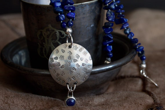 Lapis lazuli long necklace with big silver pendant, sterling silver pendant, OOAK statement necklace, artisan necklace