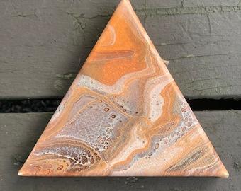Orangish Triangle Acrylic Pour Painting