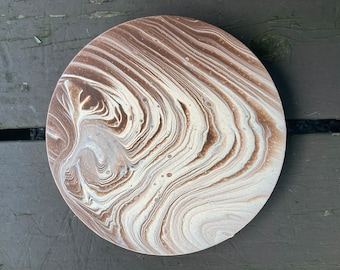 Tree Rings Circle Acrylic Pour Painting