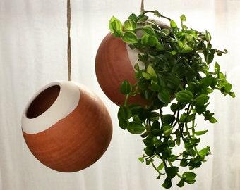 Suspension with plant fashioned turn in ceramic terracotta minimalist raw material each suspension is unique