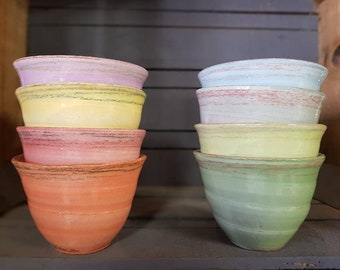 Set of 4 mini bowls for drinking tea/coffee, serving olives or an ice ball, offered by range of hot or cold colors.