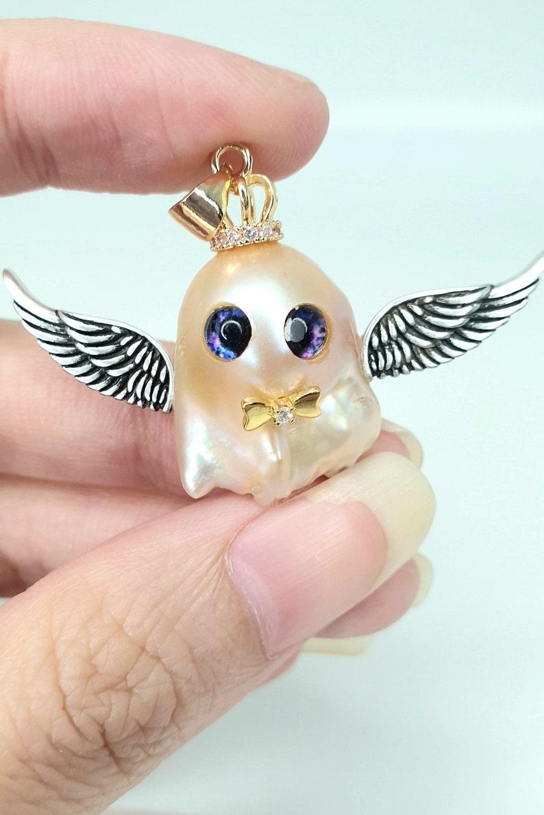 Adorable ghost baroque pearl pendant