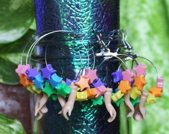 handmade rainbow star/ flower bead mini doll hand dangly hoop earrings