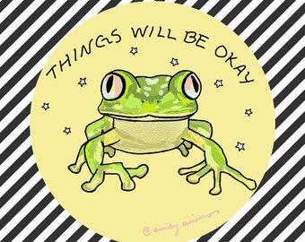 glossy yellow circle frog sticker things will be okay