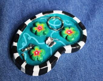 handmade resin coated flower pond striped polymer clay trinket dish/ ring holder